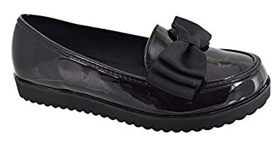 f7fc2410cf4 Womens Ladies Flat Creeper Chunky Sole School Work Dolly Loafers Bow Shoes  Size