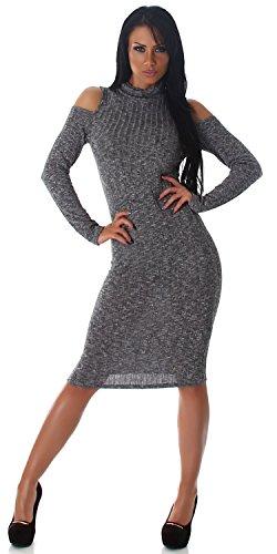 Jela London - Robe - Crayon - Uni - Manches Longues - Femme Noir