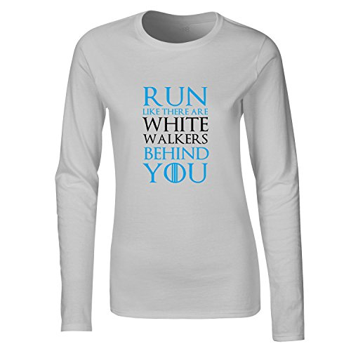 Brand88, Run Like There Are White Walkers Behind You, Dames t-shirt à manches longues Gris Clair