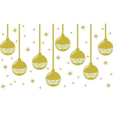 Bolas de Navidad (8 x 15 cm) con una serie de 48 estrellas (16 x 5 cm, 32 x 2,5 cm) Color oro metálico de Navidad, Navidad y ventanas de pared, ventanas de pared arte, etiquetas de Navidad, adorno adhesivo de vinilo ThatVinylPlace