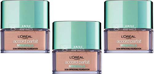 L'Oréal Paris Poudre Accord Parfait Minéral 2R/2C Vanille Rose - Ptiparis Lot de 3