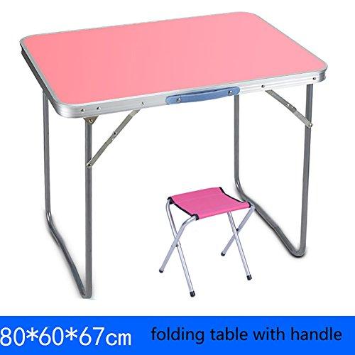 Table pliante Table en plein air carré table pliante et chaises avec poignées camping petit bureau en bois pliant table à manger ordinateur (Couleur : Table+1 stools, taille : 80 * 60 * 67cm)