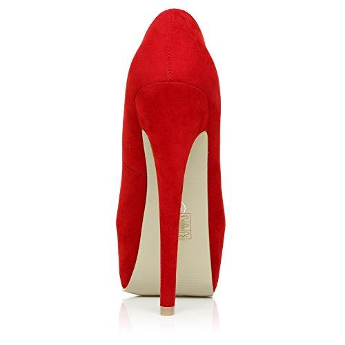 Scarpe con Tacco a Stiletto Molto Alto e Plateaux Decollete, Scamosciato Sintetico Rosso, DONNA Rosso scamosciato