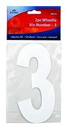 White Self Adhesive Wheelie Bin Numbers 17cm 2/Pk - 3 (WS513) Wheelie Bin / Dust bin / Dustbin Number Stickers by PinkWebShop