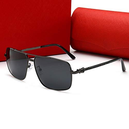 Whhhherr Herren Square Retro Fashion Travel Sonnenbrille, polarisiert (Farbe : Black Frame/Black)