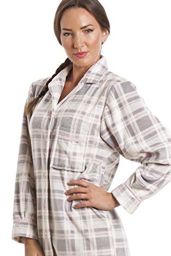 Damen Nachthemd aus Fleece - Knopfleiste vorn - Kariert - Grau Grau