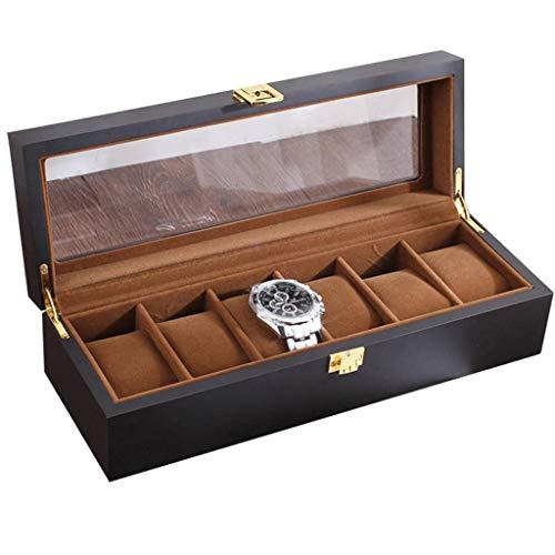 GOVD Uhrenbox 6 Uhren Holz Uhrenkoffer Damen Herren, mit Klare Oberseite Schwarz