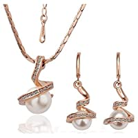 18K Gold Plated Bridal Pearl Pendant Necklace & Earring Set (MM0007)
