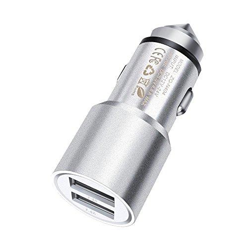 I-Sonite (Silber Quick Charge Dual-Port-USB-Voll-Aluminium-Gehäuse Auto-Ladegerät Einschuss Adapter (3.1AMP / 24W) mit Bruch-Glas-Sicherheits-Hammer für Toshiba Satellite Click Slv Tasche