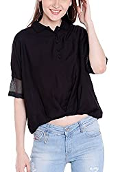 Spykar Womens Cotton Black Regular Fit Tops (X-Large)