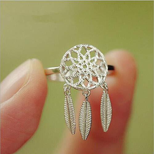 Woman Ring,Frau Ring, Europäischen Und Amerikanischen Fashion Design 925 Sterling Silber Monternet Hohlen Snap Mode Öffnen Ring Leaf Design Snap