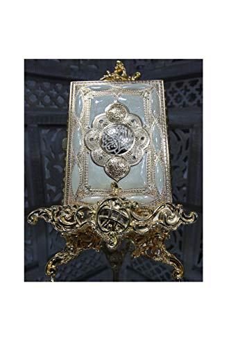 Unbekannt Alhambra Mittelgroße Goldfarbene Holly Koran Hülle mit Ständer, Geschenk-Dekoration, Hochzeit, Koranbuch Nicht im Lieferumfang enthalten