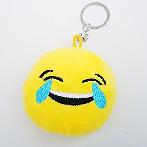 2 Inch Mini ROLF Laughing Emoji Keychain Keyring - Yellow GN Pack of 10 Enterprises