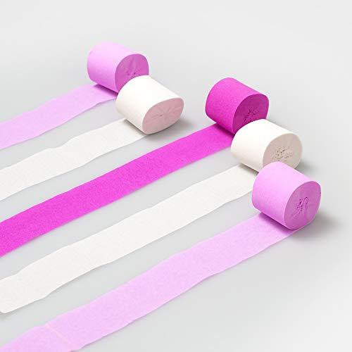 Luftschlangen aus Seidenpapier, Pastellfarben, 10 m, Pink/Weiß, 5 Stück