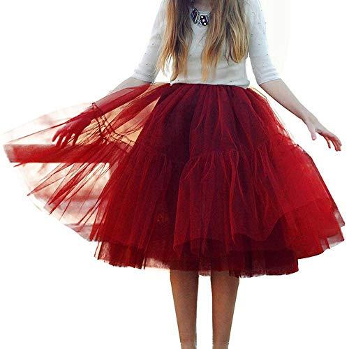 YEBIRAL Damen Röcke Basic Retro Solide Knielang Mesh Tüllrock Tutu Frauen Elegante Schöne Ballettrock Petticoat Dehnbar Faltenrock (One Size,Rotwein)