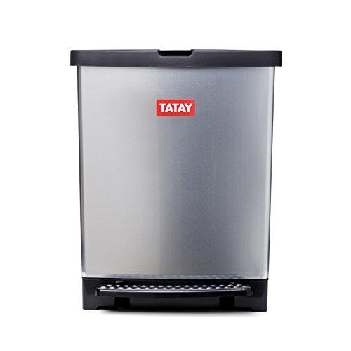 Tatay 1020100 Trend-Cubo de Basura para Cocina Fabricado en PP Metalizado con 25 litros de Capacidad-Sistema de Apertura a Pedal, Gris Metal, 30 x 30 x 30 cm