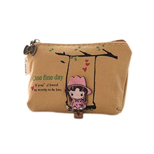 Lumanuby 1 Stück Münzen Tasche Durable Kleine Geldbörse für Münzen/Schlüssel/Karte Kreatives Geschenk für Kinder/Mädchen/Damen size 1.5*8*2.8cm (Süßes Mädchen, Gelb)