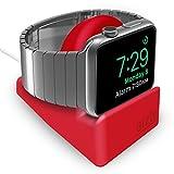 Orzly® Night-Stand für das Apple Watch - ROT mit Schlitz auf der Unterseite fuer das optimale Verbergen ihres Ladekabels (Grommet Ladegerät und Kabel sind nicht im Lieferumfang enthalten)