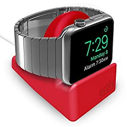 Orzly - Compact Ständer für Apple Watch - Nachttischmodus kompatibel - ROT Ständer mit integriertem Kabelführungsschlitz (38mm & 42mm & 40mm & 44mm kompatibel)
