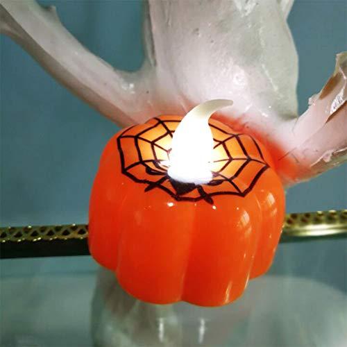 FairOnly 1 Stück LED Klassische kleine Kerze Laterne Kürbis-Design Kerze Lampe für Bar KTV Halloween Party Dekoration Spinnennetz (Halloween-spinnennetze Uk)