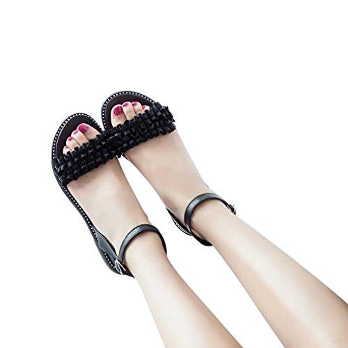 Beikoard promozione della moda sandali donna taco sandali da donna con tacco a spillo e tacco a punta tinta unita (nero, 37)