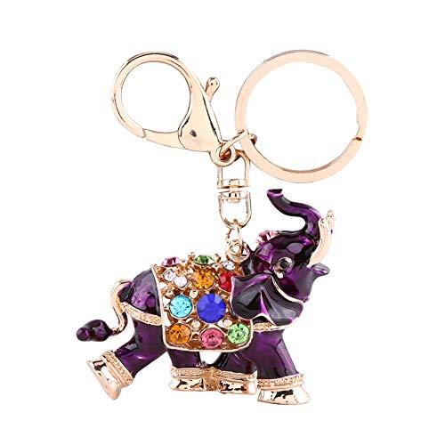 Llavero Elefante Auspicioso de 1 Pieza Llavero 3D Llaveros Llaveros Bolso Colgante de Cristal Colorido(Purple)