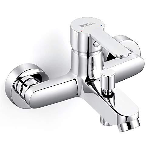 Amzdeal Grifo para baño y ducha Grifo de bañera con el Cuerpo de cobre Mezclador de baño Monomando para bañera de Mango de aleación de titanio, Plateado / AZ017B