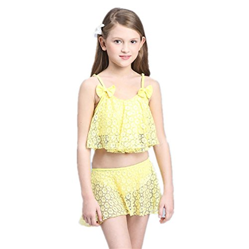 SHISHANG Kindbadebekleidung Art und Weise nette Mädchen Bikini Rock Typ 8-16 (Jahre) Sommer gelb lila Farbe Yellow