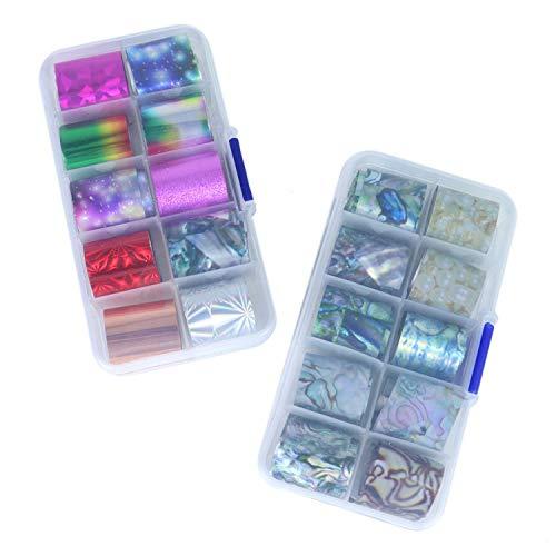 Monrocco 2 Box / 20 Stück Nail Art Folien-Transferfolien-Set Holografische Nagelkunst Folien-Aufkleber Nail Wraps Transfer Decals Kit -