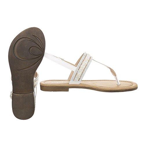 Ital-Design Scarpe da Donna Sandali Tacco a Blocco Infradito bianco BM197-2