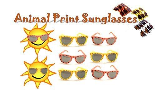 Toy Cubby Sonnenbrille 24 Stück Wildes Tier Druck Parteibevorzugungs Gläser Ideal Großpackung für Feiertage, Geburtstagsfeiern, Kleid ups, Halloween Kostümierungen und Vieles Mehr!