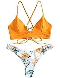 riou Bikini Conjuntos de Bikinis para Mujer Push Up Mujeres Traje de BañO Estampado Bohemio Dividido BañAdores con Relleno Tops y Braguitas Mujer 2020 brasileños vikinis