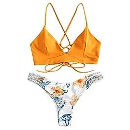 Donne Costume da Bagno Bikini Push up Set Sexy Mare Flessione Imbottiti sulle Braccia Reggiseno Floreale Sportivo Arena…