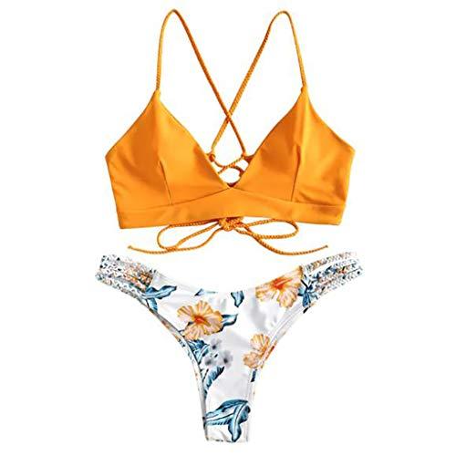 Subfamily Femme Maillots de Bain 2 Pièces Bikinis Dos Nu Taille Bas Push-up Rembourré Bikini à Bretelle Plage Maillot de Bain + Triangle String Impression Impression Vin Rouge (Jaune-1, M)