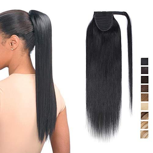 Extension coda capelli veri clip code di cavallo fascia unica nera 100% remy human hair lisci umani neri ponytail extensions aderire 50cm-95g # nero intenso