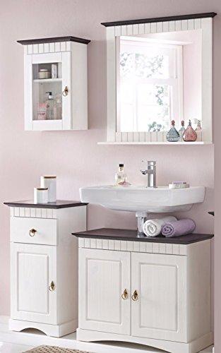 clever-moebel 4 tlg Badmöbel Set aus Kiefernholz weiß braun Badschrank Badschränke
