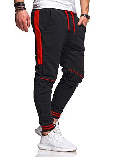 behype. Herren Lange Trainingshose Jogging-Hose Sport-Hose Kontrast-Stripes 60-3171 Schwarz-Rot M