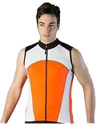 Deporteshera - Ropa ciclismo, Maillot Sin Mangas, Camiseta Ciclismo, Color Naranja/Negro/Blanco