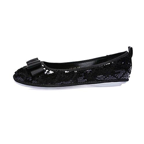AllhqFashion Damen Quadratisch Zehe Ohne Absatz Eingelegt Ziehen Auf Flache Schuhe Schwarz