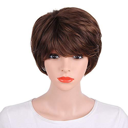 kashyk Frauen Damen natürliche Kurze Glatte Haare Perücken hitzebeständiges natürliche Cosplay volle Perücke für Halloween, Fasching, Makeup - Elsa Kostüm Ändern