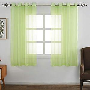 FLOWEROOM Transparent Voile Gardinen – Einfarbige Durchsichtig Vorhänge mit Ösen für Wohnzimmer 175×140 cm Weiß 2er Set