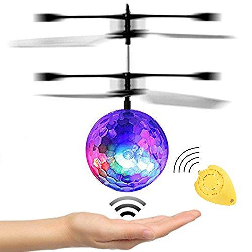 RC fliegender Ball, JAMSWALL RC Infrarot Induktionshubschrauber RC Spielzeug Ball mit LED Leuchtung für Kinder (mit Fernbedienung)