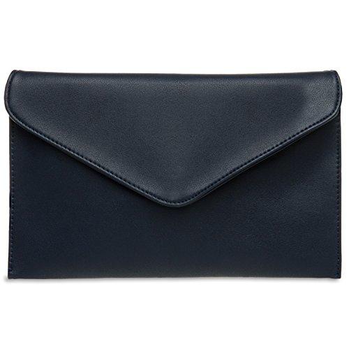 CASPAR TA310 Damen Envelope Clutch, Farbe:dunkelblau (Clutch Tasche)