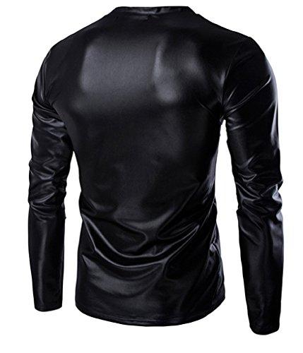 Choose Men's Trend Metallic Schlanke V-Ausschnitt Langarm T-Shirts Schwarz