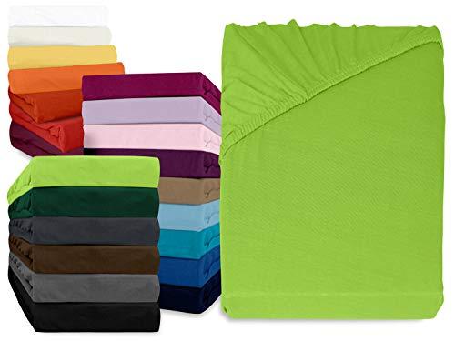npluseins klassisches Jersey Spannbetttuch - erhältlich in 34 modernen Farben und 6 verschiedenen Größen - 100% Baumwolle, 120 x 200 cm, apfelgrün