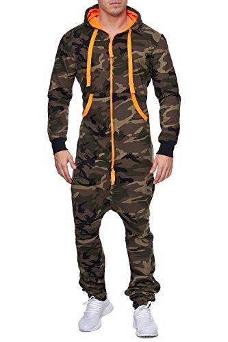 Herren Overall Camouflage Orange Cotton Jumpsuit Männer Jogging Anzug (Grün-Orange, XL)