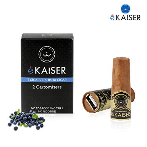 eKaiser cigare électronique Pack 2 Cartomizer   Saveur Blueberry eCigar E shisha à usage unique 30/70 VG/PG Saveurs sans nicotine   700 PUFFS pour eKaiser USB cigare   Rechargement Cloud Chaser Vape