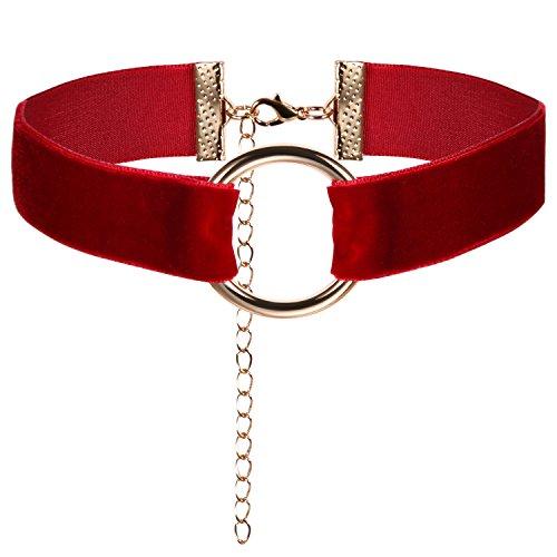 JewelryWe Schmuck Damen Choker Halskette mit O-Ring Anhänger Weinrot Stretch Samtleder Velvet Gothic Halsband Sexy Kette Handarbeit