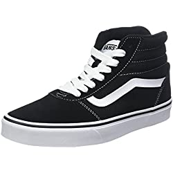 Vans Ward Hi Suede/Canvas, Zapatillas Altas Hombre, Negro ((Suede/Canvas) Black/White C4R), 39 EU
