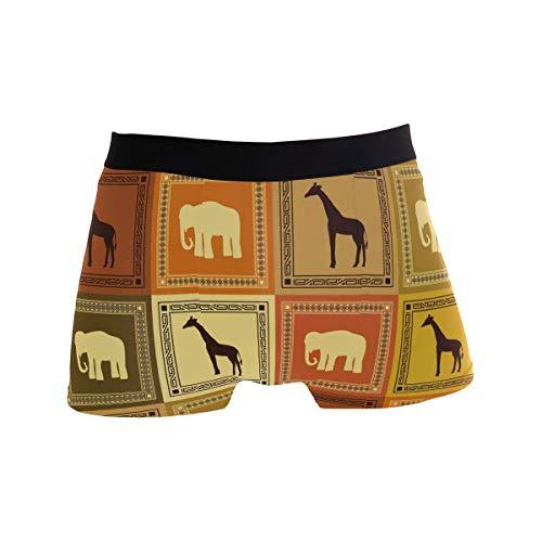 hulili Grid Giraffe Elephant Boxer Briefs for Men Boy Youth Soft Comfort Underwear Polyester Spandex - Loom Mens Boxer Briefs